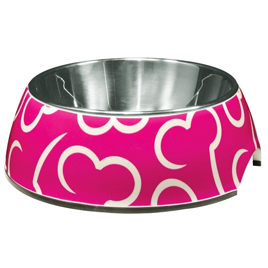 Dogit Style Bowl with Stainless Steel Insert 160ml Pink Bones
