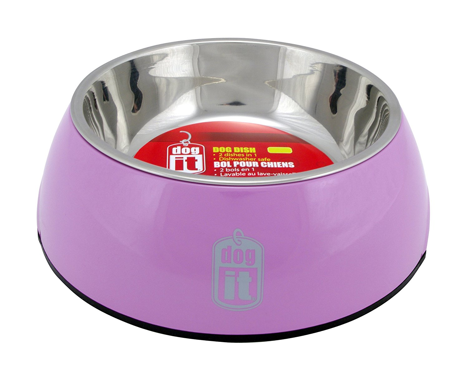 Dogit 2 in Durable Bowl with Stainless Steel Insert Large 1.6L Pink