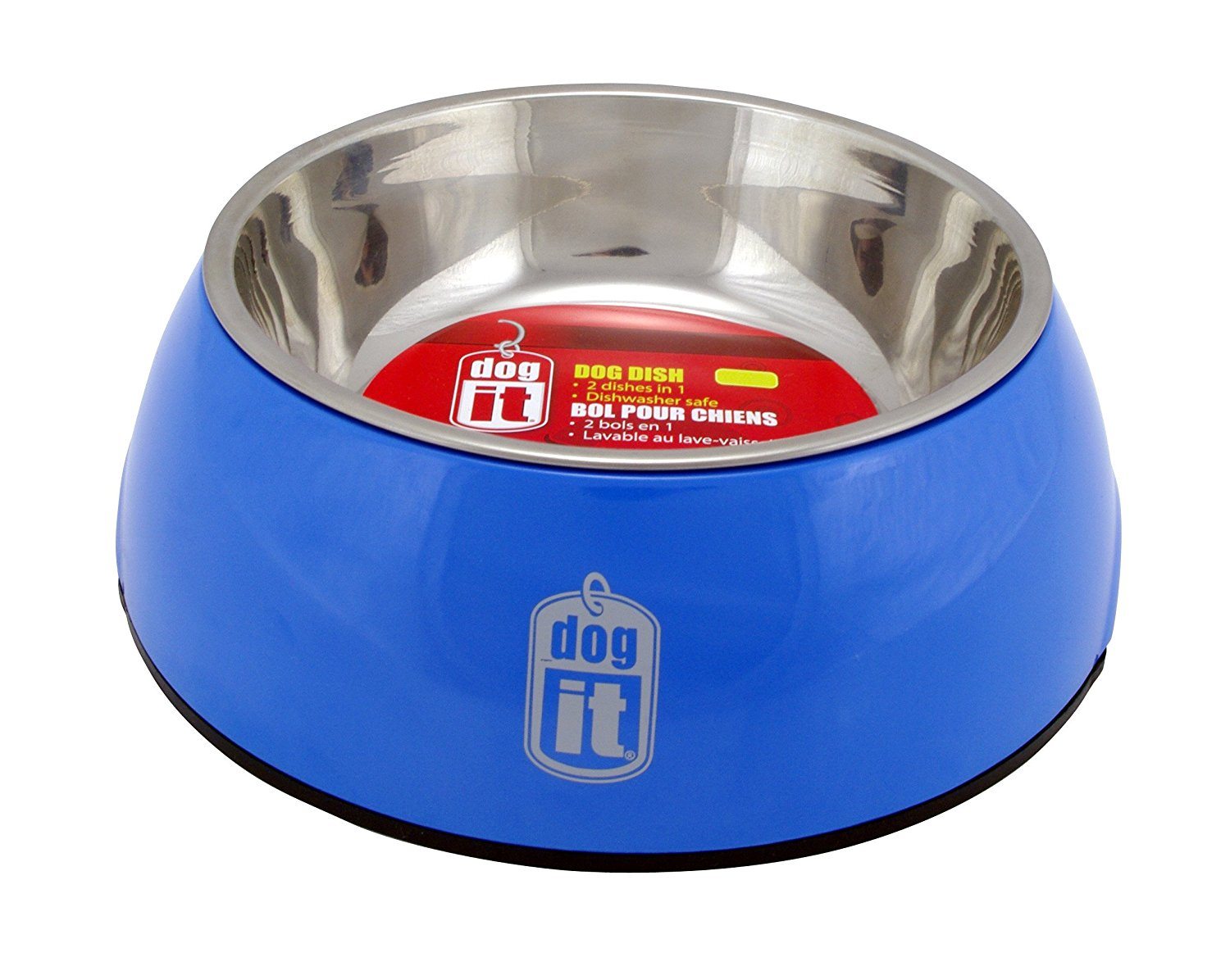 Dogit 2 in Durable Bowl with Stainless Steel Insert Medium 700ml Blue