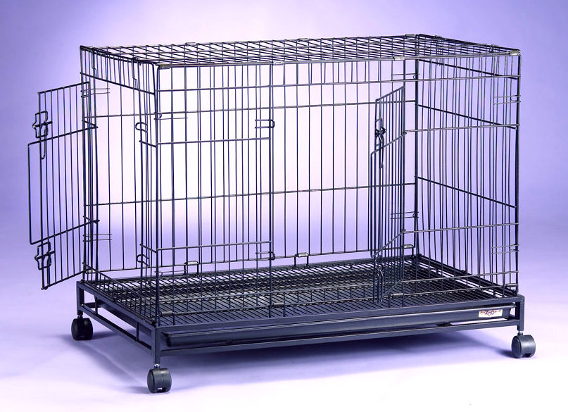 Collapsible Steel Dog Cage D305RI with 2 Doors and 4 Wheels