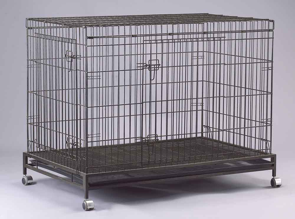 Collapsible Pet Cage D307RI with 2 Doors and Wheels
