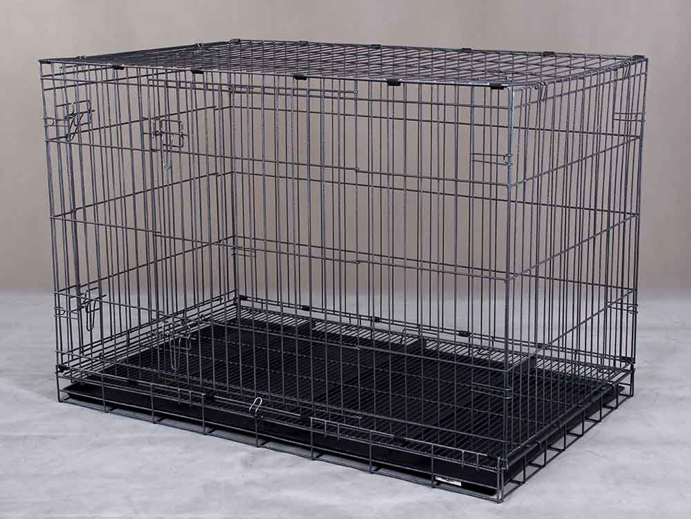 Collapsible Pet Cage D308RI with 2 Doors and Wheels