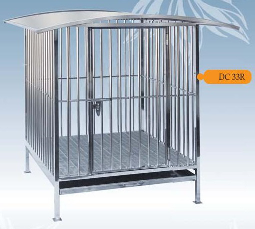 Fully Welded Stainless Steel Dog Cage DC33R with Roof