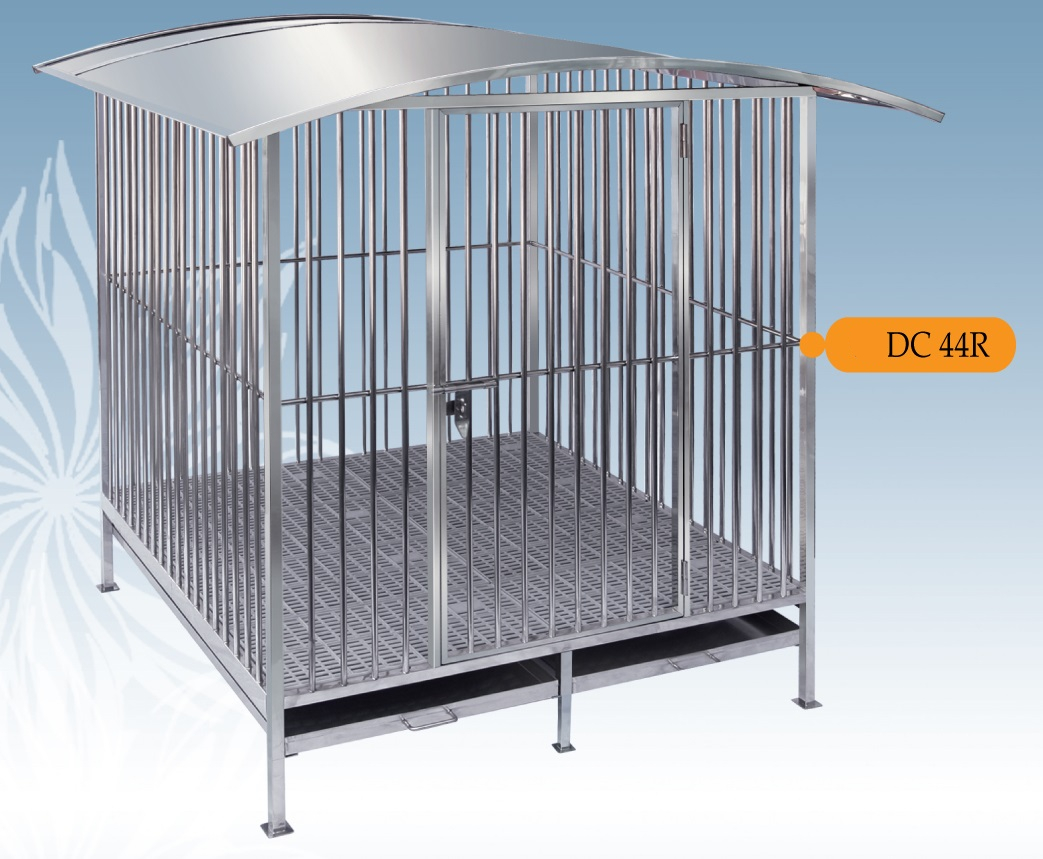 Fully Welded Stainless Steel Dog Cage DC44R with Roof