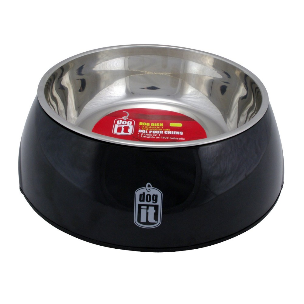 Dogit 2 in Durable Bowl with Stainless Steel Insert Large 1.6L Black
