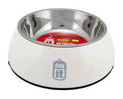 Dogit 2 in Durable Bowl with Stainless Steel Insert Large 1.6L White