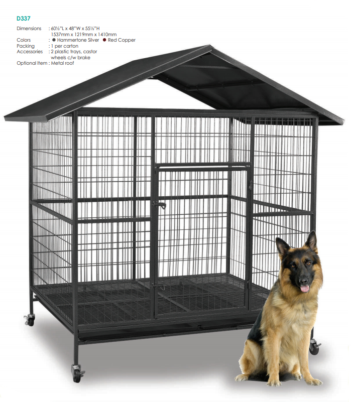 Steel Dog Cage D337R with Metal Roof